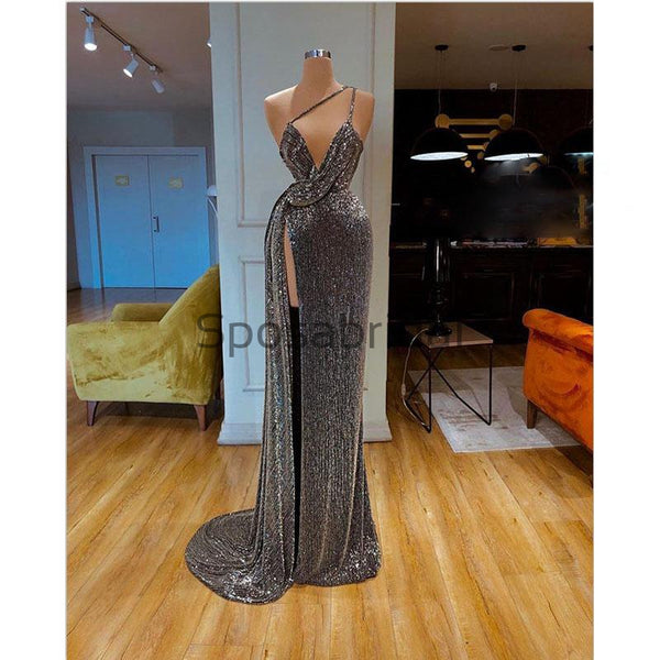 Sparkly Gray Sequin Unique High Slit Sexy Formal Long Prom Dresses PD2100