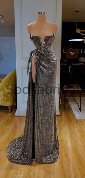 Sparkly Gray Sequin Unique High Slit Cheap Formal Long Prom Dresses PD2101