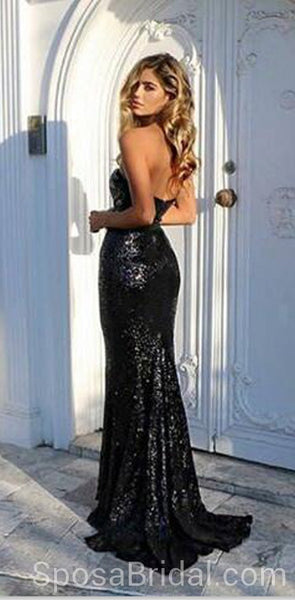 Sparkly Mermaid Elegant Black Sequin Prom Dresses, Unique Design Evening Dress, PD1294