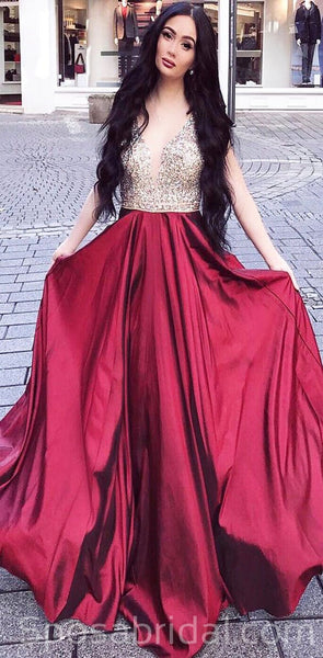 Sparkly Modest Gorgeous Sleeveless A-Line Beaded Burgundy Long Prom Dresses, PD1385