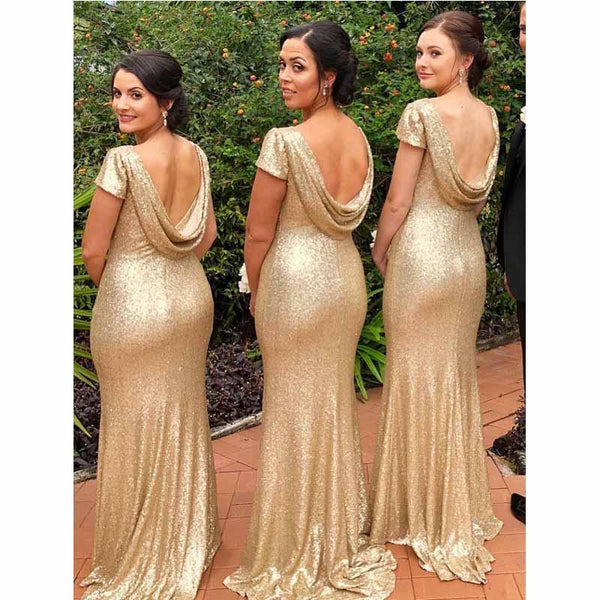 2019 Free Custom Sequin Sparkly Simple Most Popular High Quality Unique Bridesmaid Dresses, PD0536 - SposaBridal