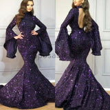 Sparkly Sequin Mermaid Long Sleeves High Neck Formal Cheap Modest Long Prom Dresses PD1666