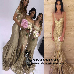 Sparkly Sequin Off SHoulder Spaghetti Straps Mermaid Modest Bridesmiad Dresses with slit ,WG319