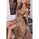 Sparkly Sequin Side Slit Shinning  Long Modest Simple A line Prom Dresses, Evening Dress, PD1300