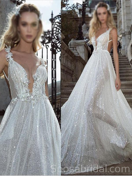 Sparkly Shinning  Sequin Aline Spaghetti Straps Unique Modest Fashion Wedding Dresses, WD0360