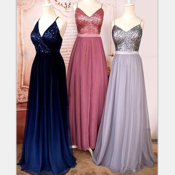 Sparkly Top Sequin Spaghetti Straps Shinning A-line Tulle Long Prom Dresses, Popular Bridesmaid Dresses, PD1244