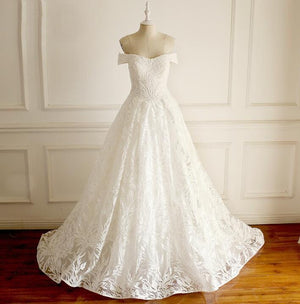 Special Charming Affordable Off Shoulder Wedding Dresses, Shinning Full Lace Beach Bridal Gown, WD0289