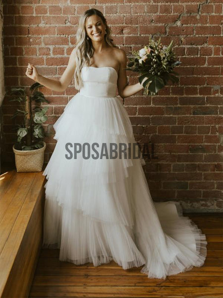 Strapless A-line Simple Unique Beach Wedding Dresses WD0527