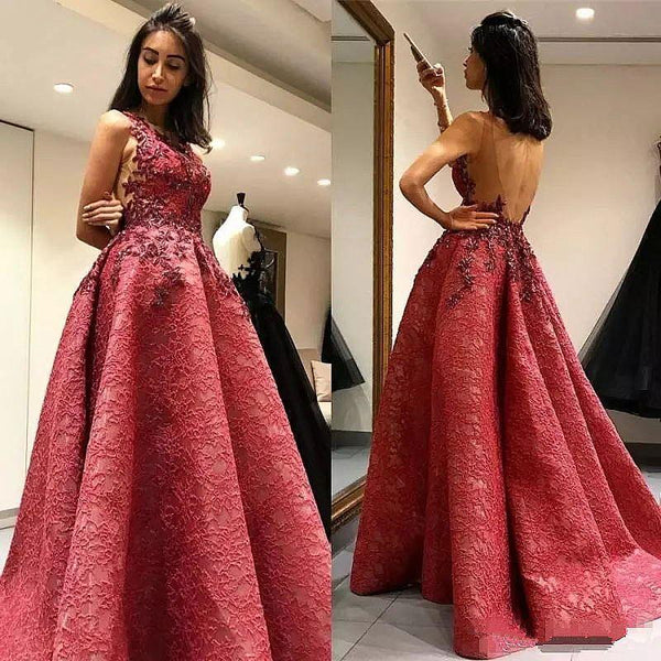 Stunning-Red Pleated Stylish Ball Gown, Elegant Formal High Quality Prom Dresses, PD0491