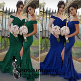 Stylish V-neck Off Shoulder Leg Split Mermaid Full Lace Elegant Bridesmaid Dresses Online,WG345
