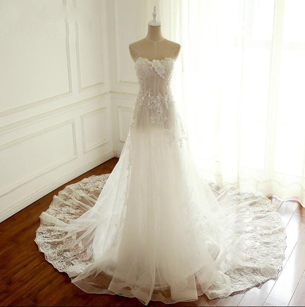 Summer Lace Sleeveless Elegant Wedding Dresses, Lace Up Back Bridal Gown, Long Pretty Wedding Dress , WD0290