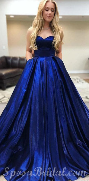 Sweetheart Blue Elegant  Simple Formal Modest Long Prom Dresses, Ball Gown,PD1330