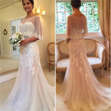 Unique Design Sweetheart Mermaid Applique Tulle Sexy Sweep-Train  Wedding Dresses,  WD0336