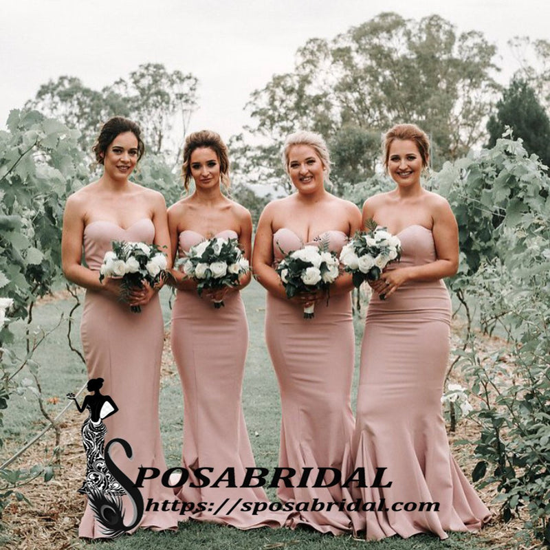Sweetheart Mermaid Pink Long Bridesmaid Dresses, Cheap Modest Popular Bridesmaid Dress with train,WG346
