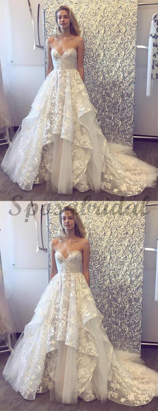 Sweetheart Strapless Lace Tulle Ruffles With Train Wedding Dresses WD368