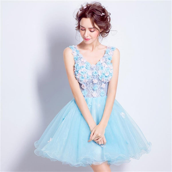 Custom Popular Fashion Homecoming Dress, Short V Neck Pretty Lace Up Back Prom Dress , PD0349
