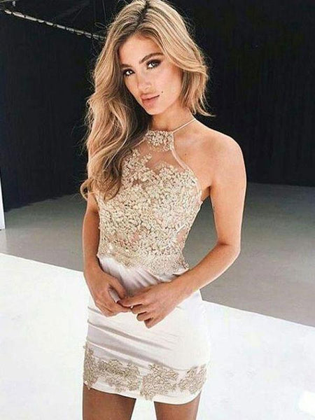 Cheap Sexy Mermaid Lace Halter Tight Homecoming Dresses 2018, CM465 - SposaBridal