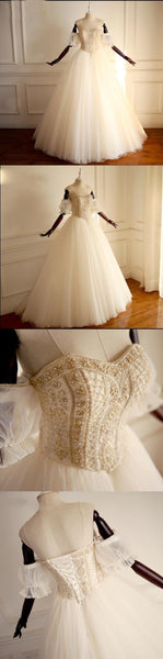 Top Beaded Sparkly Formal Unique Off Shoulder Prince Wedding Dresses, 2018 New Arrival Bridal Gowns , WD0292