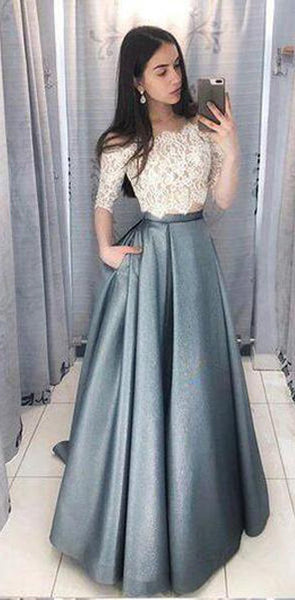 Top Lace Half Sleeves Two Piece Satin Skirt Modest Cheap A-line Prom Dresses, Evening dress, PD0649