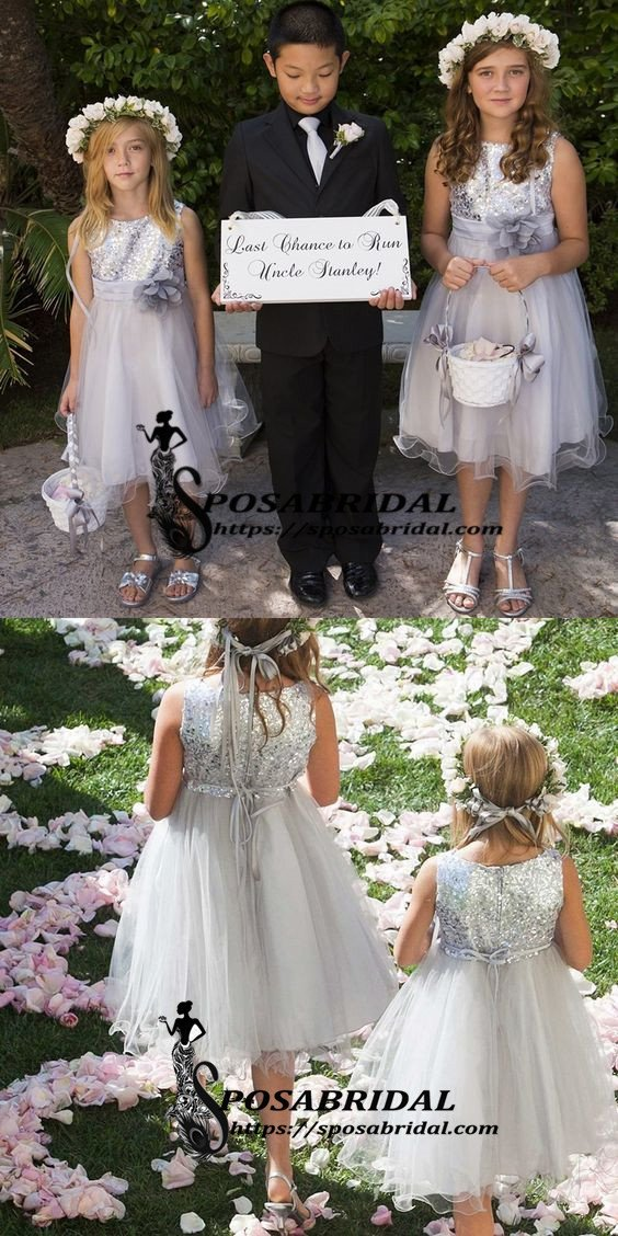 Top Sequin Sliver Grey Round Neck Sleeveless Flower Girl Dresses With Handmade Flower, Sparkly Discount Junior Bridesmaid Dresses , FG123