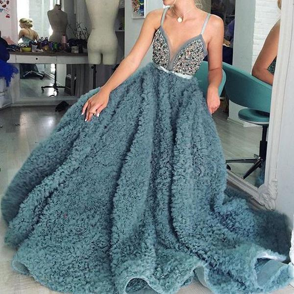 Turquoise Uniqe Design Long Straps Elegant Modest Fashion Prom Dresses, party queen dress , Evening Dress, PD0500