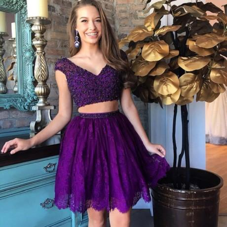 Two Piece V-Neck Beading Purple Homecoming Dress with Lace  46884e102