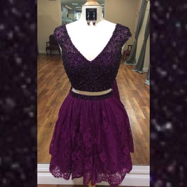 Two Piece V-Neck Beading Purple Homecoming Dress with Lace , PD0363