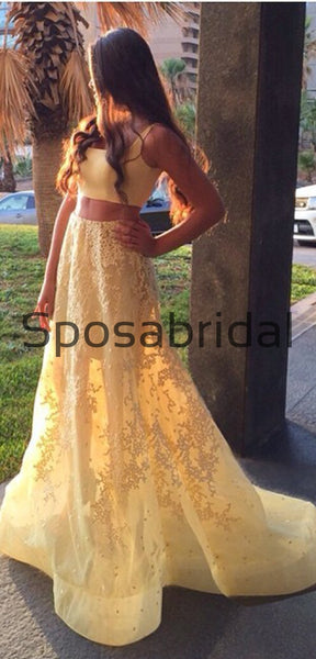 Two Pieces Yellow Lace Elegant Modest Prom Dresses,Party Dress, Prom Dresses PD1898
