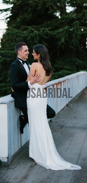 Unique Beaded Open Back Beach Wedding Dresses WD0530