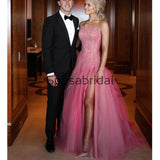 Unique Design Pink Tulle Long Fashion Evening Prom Dresses PD2334