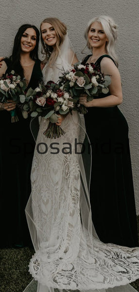 Unique Full Lace Vintage  Chic Exquisite Beach Long Wedding Dresses WD0557