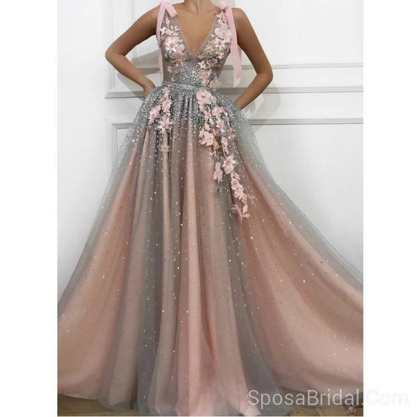 Unique  A-Line  V-Neck Custom Pretty High Qulaity Long Prom Dresses, Formal Evening Dresses,PD1189