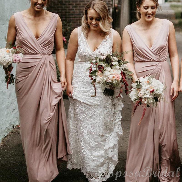 Unique Design Elegant Legant V Neck Blush Pink Long Bridesmaid Dresses WG583
