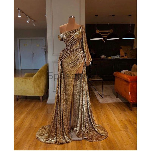 Unique Design Gold One Shoulder Side Slit Fashion Modest Mermaid Prom Dresses PD1457