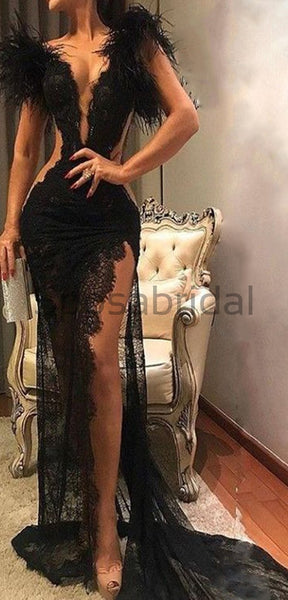 Unique Design Lace Black Side Slit Sexy Elegant Mermaid Long Prom Dresses PD1458