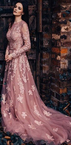 Unique New  Round Neck Formal Modest Long Sleeves A-line Prom Dresses With Lace Appliques,PD1346