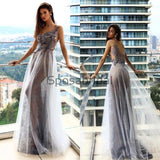 Unique One Shoulder Tulle Beaded Modest Formal Long Prom Dresses PD2104