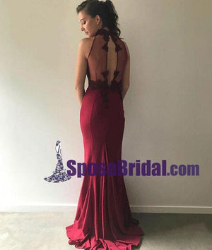 Fashion Lace Mermaid Long Elegant Prom Dresses, Cheap Custom Free Burgundy Bridesmaid Dresses, WG245