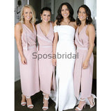 Unqiue Sheath V-Neck Ankle Length Pink Bridesmaid Dresses with Split WG739