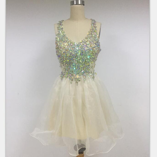 V-NECK Sparkly Organza Shining Discount Cheap Short in Size In Stock Prom Dresses Online,DD011