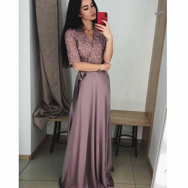 V-Neck Half Sleeves Purple Cheap Soft New Design Prom Dresses with applique, Evening dress, Party Dress, PD0497