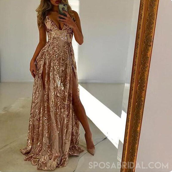 4b33201fb89b3 V-Neck Long Sparkly Shinning Formal Sexy Prom Dresses, Party dress, evening  dresses