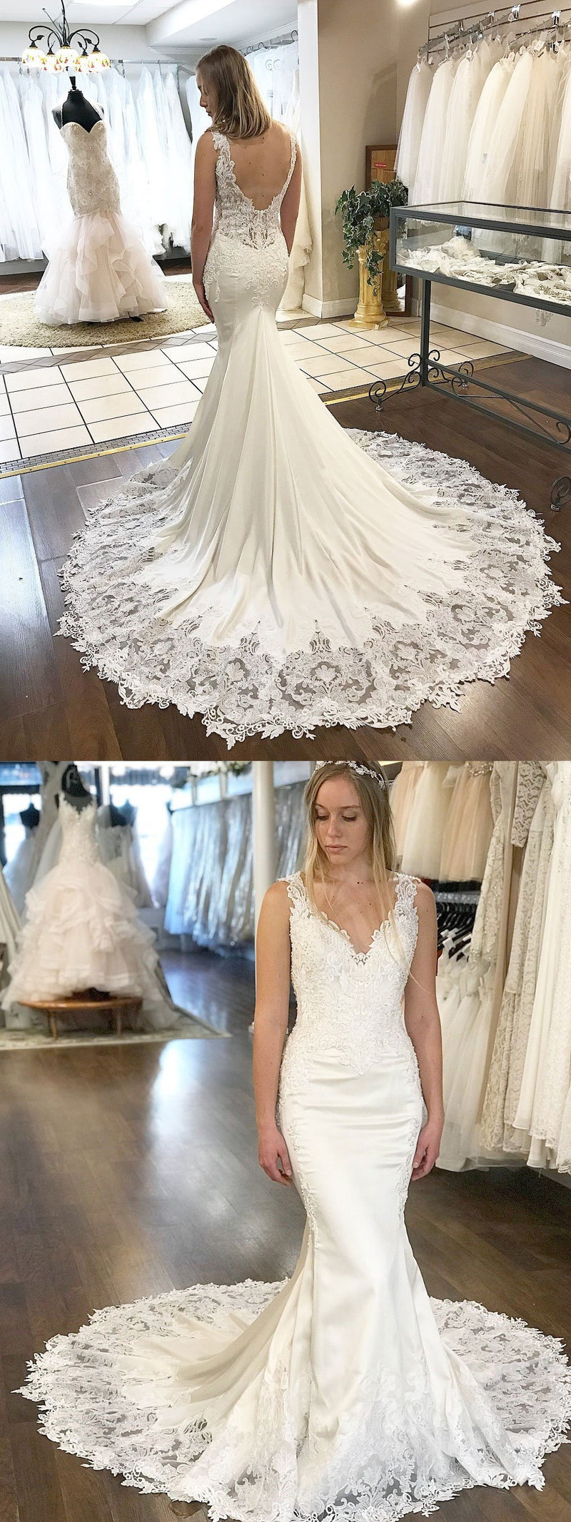 V-Neck Mermaid Unique Design Modest Affordable  Long Wedding Dresses with lace appliques , WD0563
