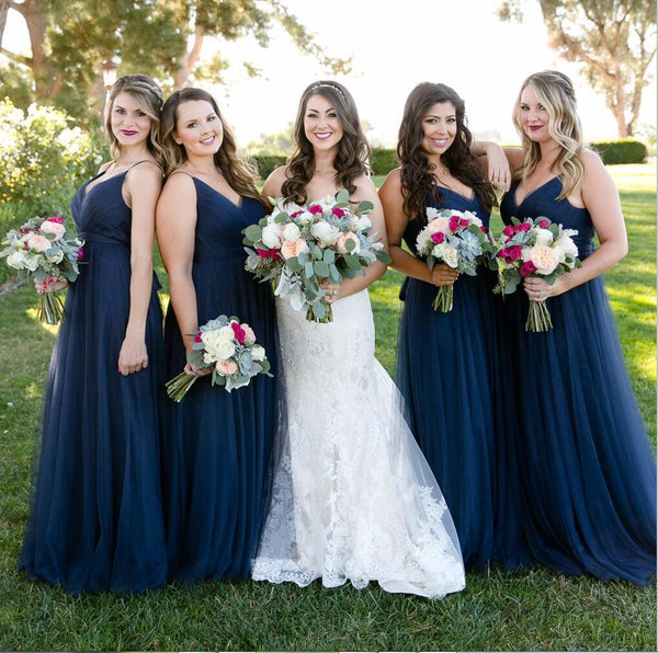 V-Neck Navy Blue Long Tulle A-Line Effortless Elegant Cheap Simple Bridesmaid Dresses,WG347