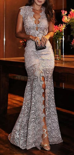 V-neck Lace Mermaid Elegant Formal Long Modest Prom Dresses PD1679