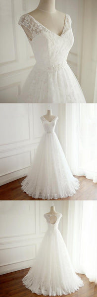V Neck Open Back Full Lace Long Simple Beach Summer Spring Floor-length Cheap Wedding Dresses, WD0293
