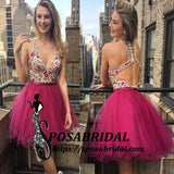 V Neck Short Embroidery Floral Fuchsia Most Popular Pretty Cheap Homecoming Dresses , BD0220