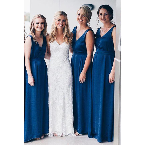 V Neck Simple Hot Sale Floor-Length Free Custom Soft  Bridesmaid Dresses, WG409