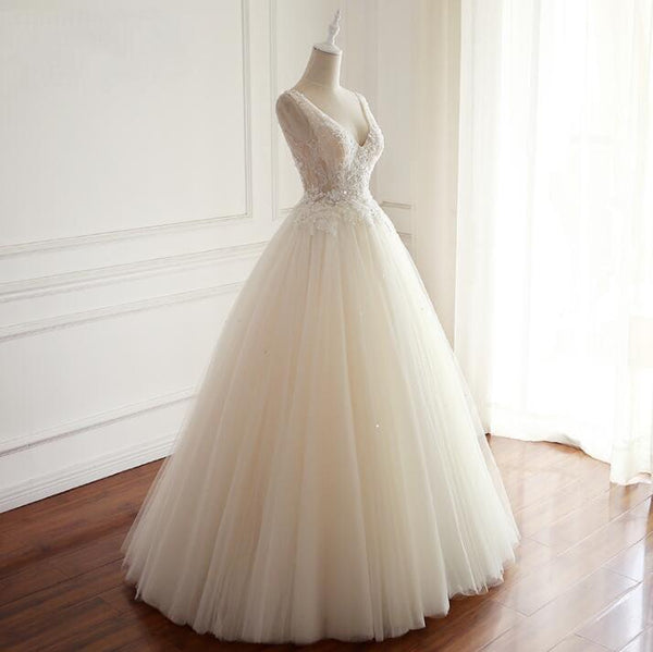 V Neck Tulle Ivory Lace Weeding Dresses with beads, Floor-length Lace Up Back Formal Bridal Gowns, WD0294