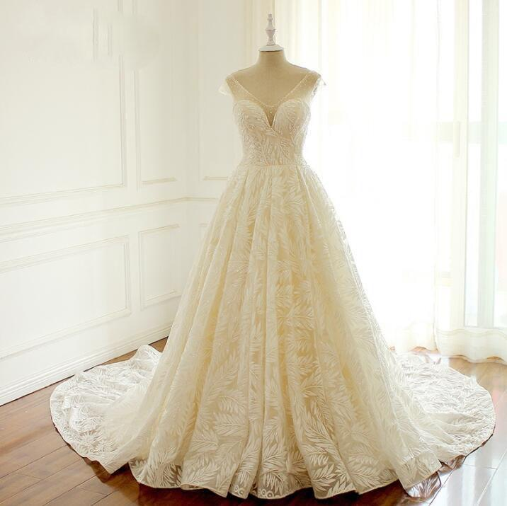 V Neck Unique New Design Wedding Dresses , Lovely Romantic Long Elegant Summer Bridal Gowns , WD0295